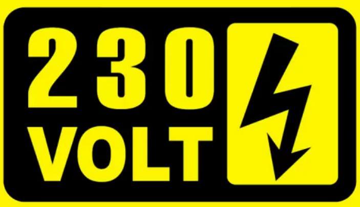 Знак осторожно 230В, напряжение 230 вольт