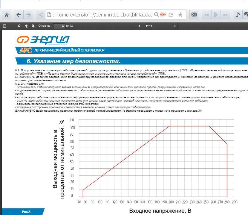Сравнение стабилизаторов, график мощности стабилизатора напряжения APC